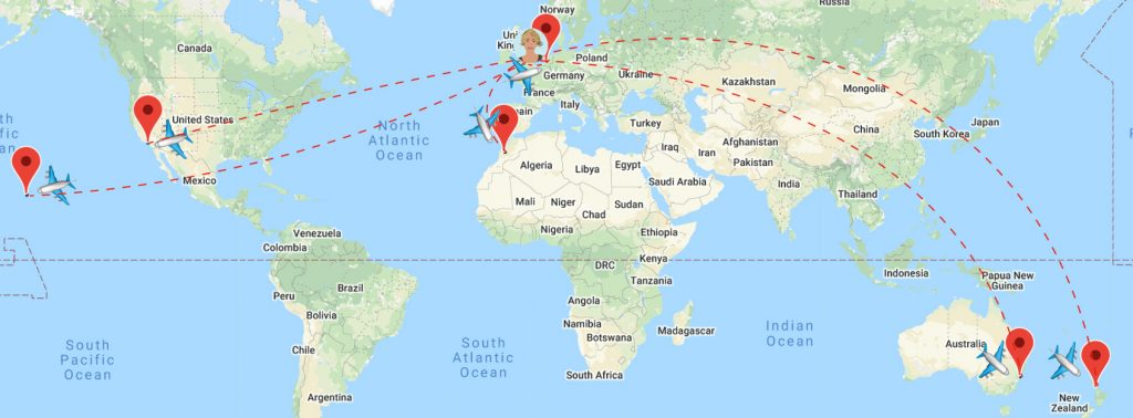 Short Travel Stories from the air - SWWW Flight Map