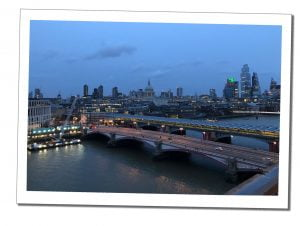A view of Blackfriars at Night from the Tate Modern, London