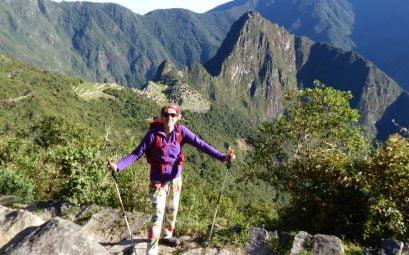 SueWhereWhyWhat overlooking Machu Picchu, Peru