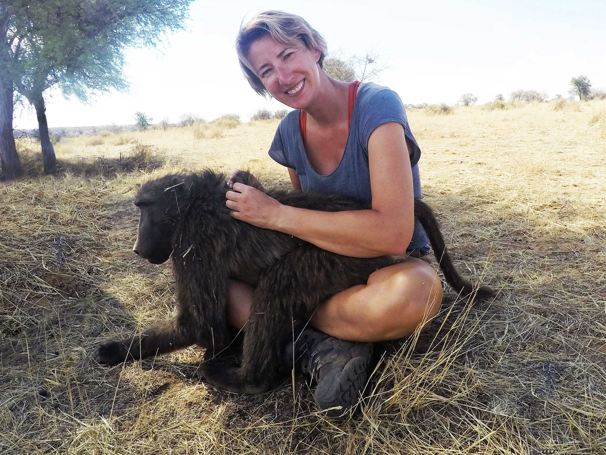 SueWhereWhyWhat and a young Baboon N/a'ankuse, Namibia, Africa. Volunteering at a wildlife sanctuary in Namibia - Week Two