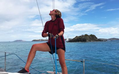 SueWhereWhyWhat, trimming the spinnaker whilst taking part in the St.Thomas's Regatta, St.Thomas's, BVI.