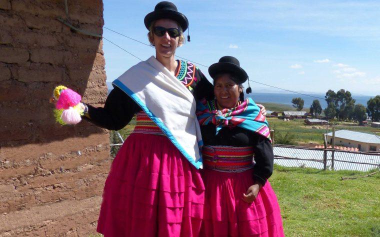 SWWW and Cholita in national costume, Lake Titicaca, Peru