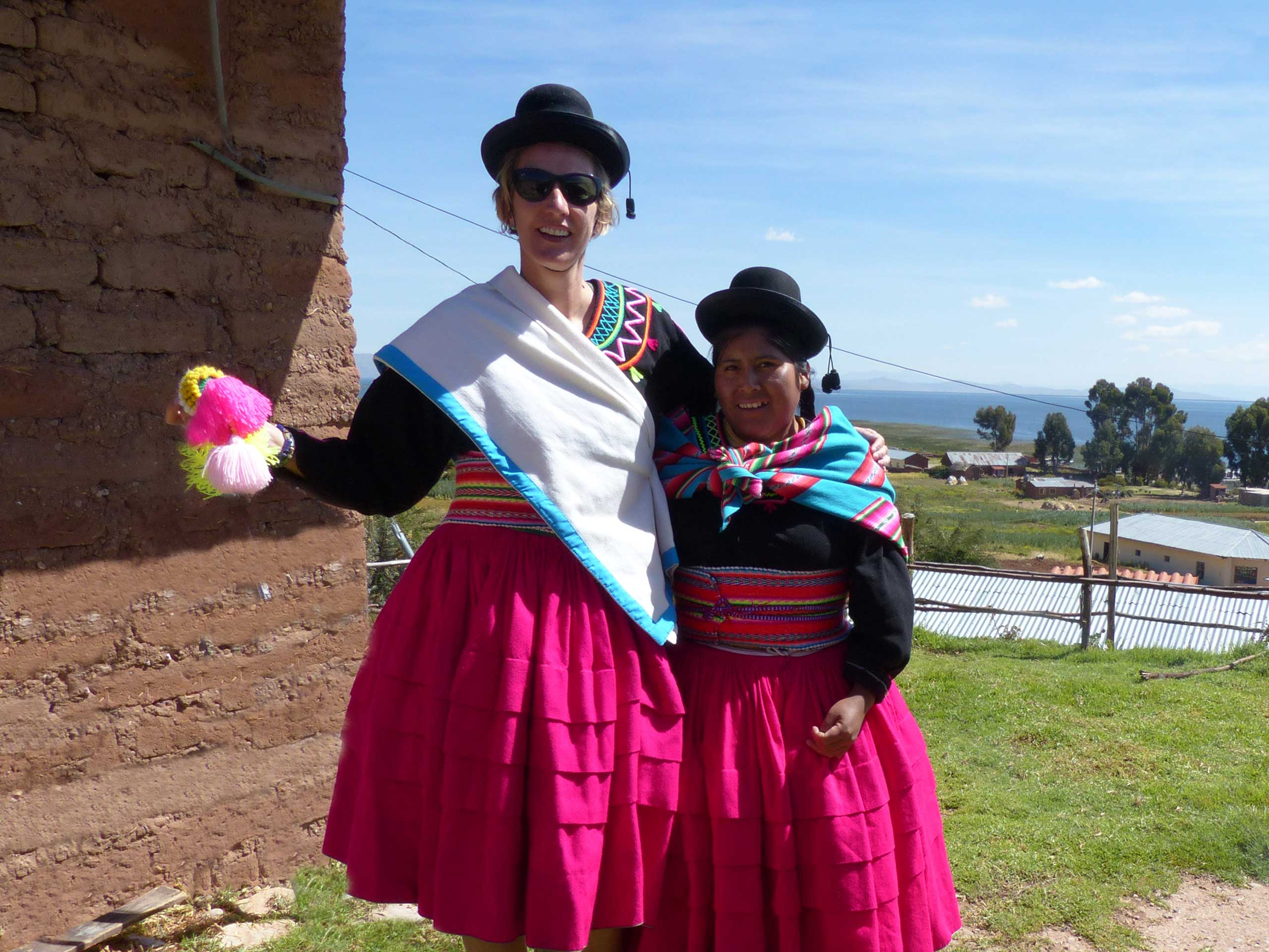 SWWW and Cholita in national costume, Lake Titicaca, Peru