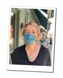Sue, in a blue face mask