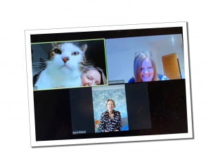 Sue and friends on Zoom,